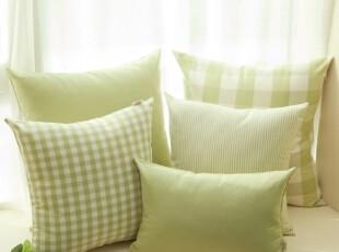 Evert格纹 沙发靠垫靠垫套抱枕抱枕套靠枕粉绿不含芯,靠垫,