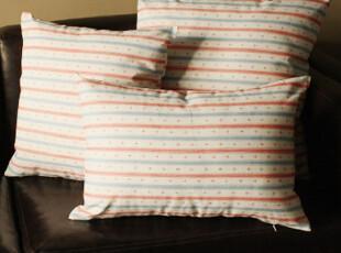 [独家]外贸出口纯棉抱枕 复古海军风抱枕 棉麻蓝白红小海锚条纹,靠垫,