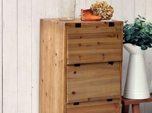 BAO ZAKKA 杂货 日单 旧木色 原木 3层收纳柜 鞋柜 30900-Y,鞋柜,