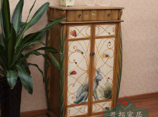 田园乡村家具兔子手工彩绘一斗两门鞋柜SD-1098棕 盈邦家居,鞋柜,
