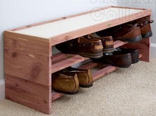 美国进口红香柏 宜家 除臭 收纳鞋架 鞋凳 鞋柜无漆 7629E,鞋柜,