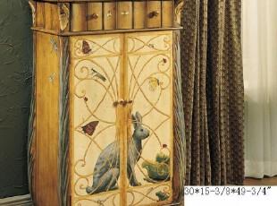 东居美式仿古/美式家具彩绘/手绘家具古典免子双门鞋柜,鞋柜,