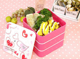 【Asa room】韩国进口代购厨房用品 可爱粉色三层便当盒cf03,饭盒,