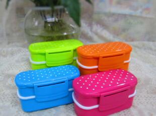 【出口日式便当盒】创意可爱圆点饭盒配叉勺 中号学生上班族饭盒,饭盒,