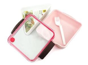 二格饭盒 密封日式便当盒 微波炉加热分格餐盒 可爱寿司盒 餐具,饭盒,