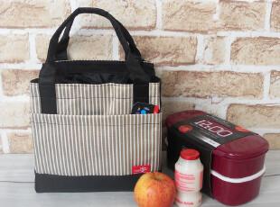 特色韩版方形条纹束口便当包 饭盒包 午餐包 饭盒袋子 手提小拎包,饭盒,