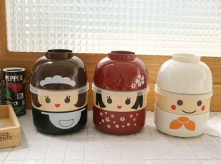 【Asa room】韩国进口代购厨房用品 可爱娃娃脸便当盒cf02,饭盒,