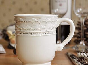 复古 田园 浮雕白色 陶瓷 马克杯 水杯 杯子 轻微掉瓷,马克杯,