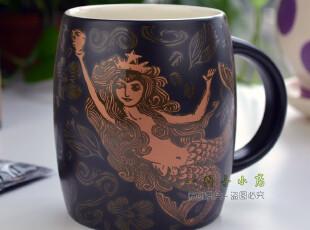 包邮星巴克杯子 2012限量酒桶型马克杯咖啡杯 金色美人鱼陶瓷杯,马克杯,