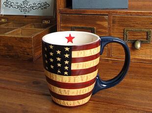 欧美外贸原单 复古咖啡杯国旗彩绘杯子字母情侣创意礼品马克杯,马克杯,