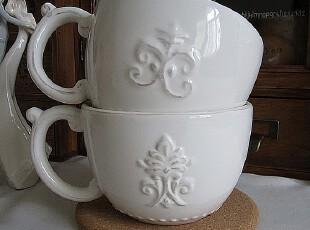 欧式浮雕杯子咖啡杯牛奶杯早餐杯马克杯限量版杯子纯白色,马克杯,