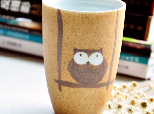 乐佰家居-景德镇陶瓷手绘杯/马克杯/水杯/咖啡杯/猫头鹰创意杯,马克杯,