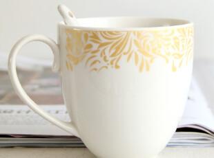 出口欧洲 陶瓷马克杯 骨瓷水杯 咖啡杯 茶杯 杯子四件套 4色送勺,马克杯,