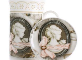 七夕情人节 欧式经典骨瓷马克杯 创意情侣杯水杯 带盖陶瓷杯子,马克杯,