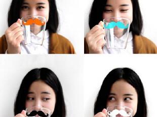 YiZi胡子玻璃杯 zakka透明水杯咖啡杯马克杯 复古牛奶杯子 情侣,马克杯,
