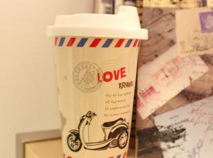 星巴克风格环保杯 创意陶瓷马克杯 环球旅行咖啡杯 情侣eco杯子,马克杯,