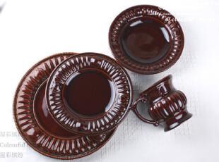 复古欧式四件套装 含大小圆盘汤盘马克杯子 外贸余单陶瓷餐具,马克杯,