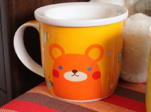 可爱动物早餐杯 小熊水杯 创意陶瓷情侣杯子 橙色马克杯 带盖,马克杯,