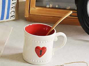 爱心小锁 陶瓷浮雕 马克杯 水杯 杯子,马克杯,