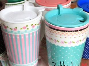 碎花杯-韩国 田园复古 碎花 马克杯 咖啡杯 带盖水杯 6色可选,马克杯,
