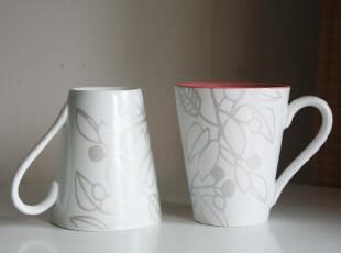Ids 简约风田园花纹白瓷咖啡杯 马克杯 茶杯  杯内多色选 小清新,马克杯,