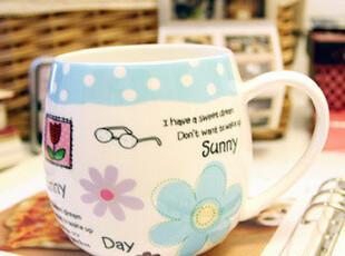 FashionLife可爱骨瓷杯 蓝色花朵水杯 卡通陶瓷杯 创意马克杯,马克杯,