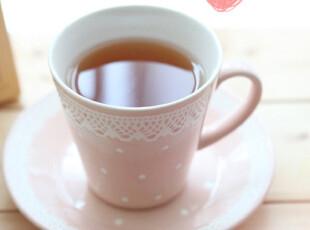 「韩居屋」浪漫粉色点点蕾丝花边咖啡杯 韩国进口水杯马克杯PU037,马克杯,
