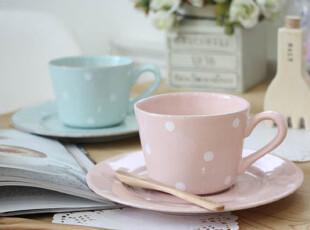 8.15【韩国代购】浪漫波点马克杯咖啡杯+碟 2件套 粉色薄荷色,马克杯,