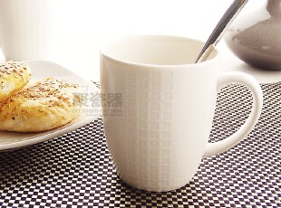 纯白 新骨瓷 马克杯 咖啡杯 格子控 陶瓷杯 出口,马克杯,