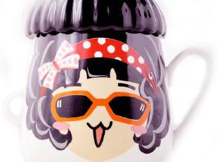 艾可思优剩女变色杯 创意魔法陶瓷马克杯子 可爱带盖咖啡牛奶水杯,马克杯,
