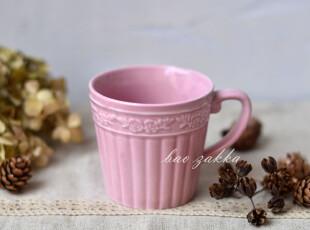 BAOZAKKA 日单 粉色 复古 浮雕小玫瑰 花茶杯 马克杯,马克杯,