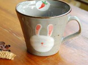 日式 可爱 胡萝卜小兔陶瓷小杯 马克杯 水杯 zakka 杂货 三款可选,马克杯,