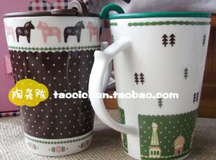 zakka风 田园碎花马克杯子 创意 陶瓷杯带盖 情侣咖啡杯茶杯水杯,马克杯,