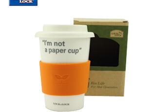 正品乐扣水杯星巴克马克杯水杯创意带盖白陶瓷杯子370ml,马克杯,