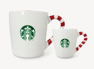 星巴克Starbucks 2011圣诞节糖果拐杖糖马克杯3/12盎司/oz 白色,马克杯,