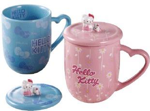 特价 新款KT猫陶瓷情侣杯对杯 创意带盖马克杯 可爱水杯礼品实用,马克杯,