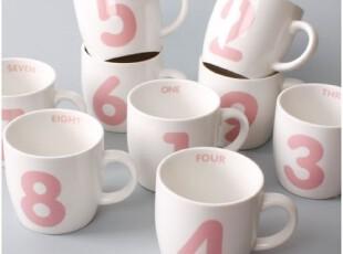 【韩国进口家居】X745 可爱粉色数字抗菌陶瓷马克杯,马克杯,