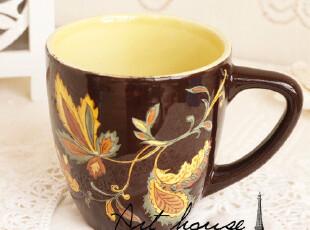 出口欧美外贸陶瓷花之语水杯 咖啡杯 奶杯 马克杯 杯子 外贸尾单,马克杯,