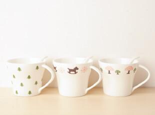Zakka杂货 森系 原品生活 陶瓷杯 马克杯 水杯 带勺 小清新三件套,马克杯,