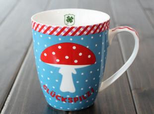 包邮 外贸尾单 水玉点点可爱蘑菇马克杯陶瓷杯咖啡杯 儿童水杯,马克杯,