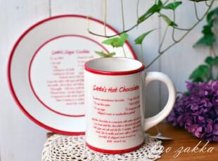 BAO ZAKKA 杂货 红边 做SANTA热巧克力方法 英文 马克杯 咖啡杯,马克杯,