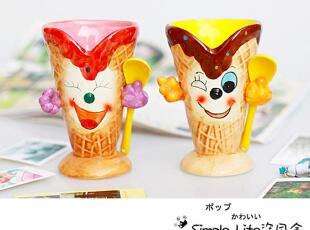 可爱手绘冰激凌创意马克杯/水杯/杯子 景德镇陶瓷拆售赠勺A款,马克杯,