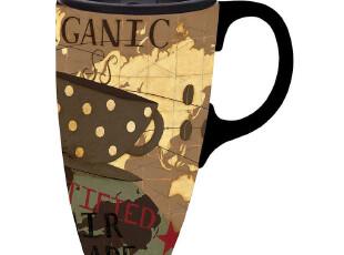 七夕礼物正品Evergreen厨房杯子水杯带盖陶瓷杯马克杯花色随机发,马克杯,