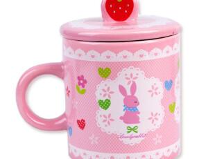 日式杂货 田园蕾丝草莓兔子带盖陶瓷马克杯/杯子 4270 0.5kg,马克杯,