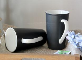 8月 外贸尾单 starbucks星巴克黑色白把水杯咖啡杯马克杯,马克杯,