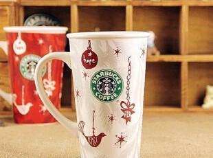 新款星巴克STARBUCKS创意圣诞水杯 陶瓷情侣马克杯咖啡杯子20盎司,马克杯,