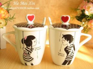 创意 陶瓷杯子 套装 带盖 带勺 水杯 咖啡杯 马克杯 情侣杯 对杯,马克杯,