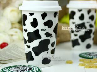经典奶牛花纹星巴克杯子 马克杯随行杯 牛奶杯 双层保温咖啡杯,马克杯,