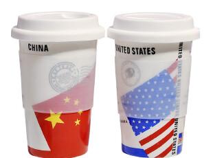 【尚韵】 星星旗帜 国旗陶瓷杯子 生日礼物 情侣带盖马克杯,马克杯,