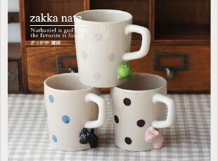 ZAKKA 日单decole 水玉 立体小动物 瞄瞄 马克杯 水杯 3款,马克杯,